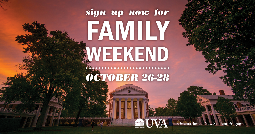 Sign up now for Family Weekend on October 26-28!